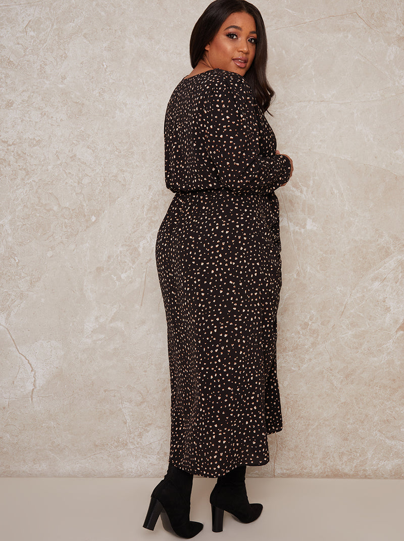 Curve Day Dress with Spot Printed Design in Black