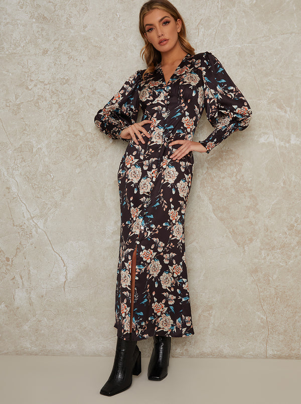 V Neck Smock Sleeve Midi Floral Print Dress in Black