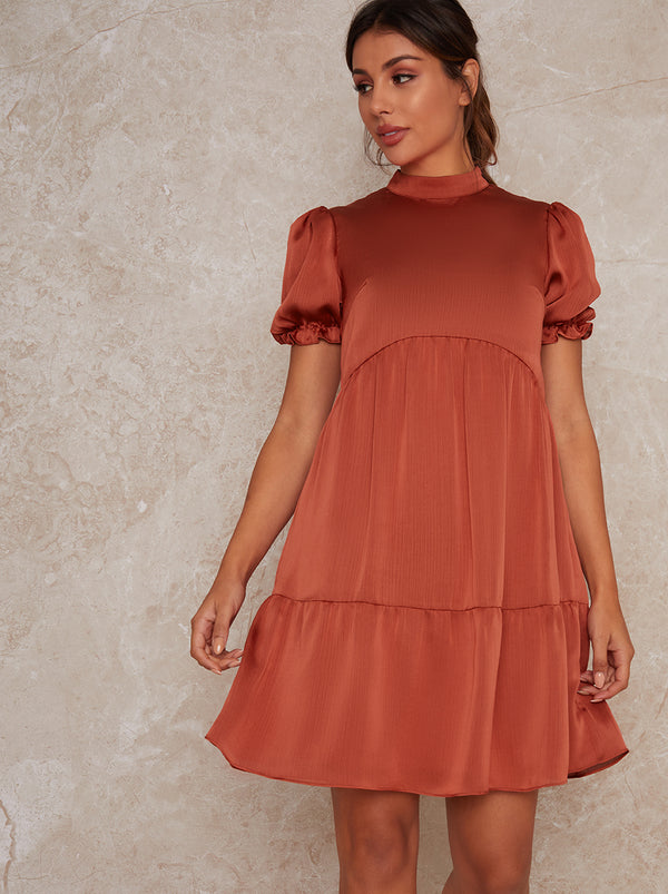 Tiered High Neck Short Sleeved Mini Dress in Orange