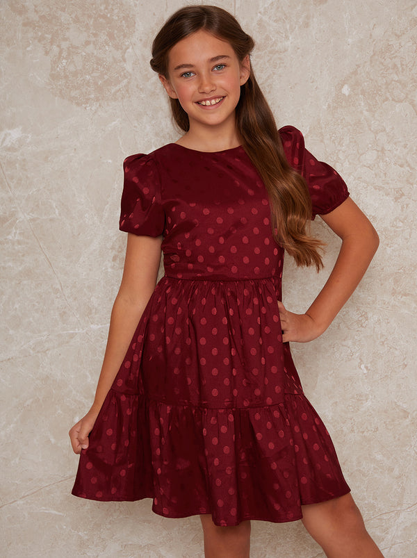 Girls Spot Print Satin Tiered Midi Dress Red
