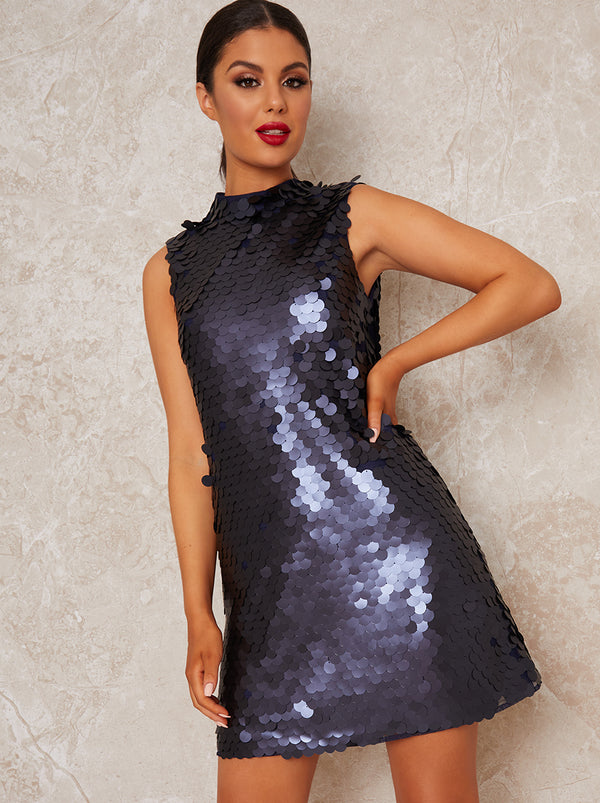 High Neck Sleeveless Sequin Mini Party Dress in Blue