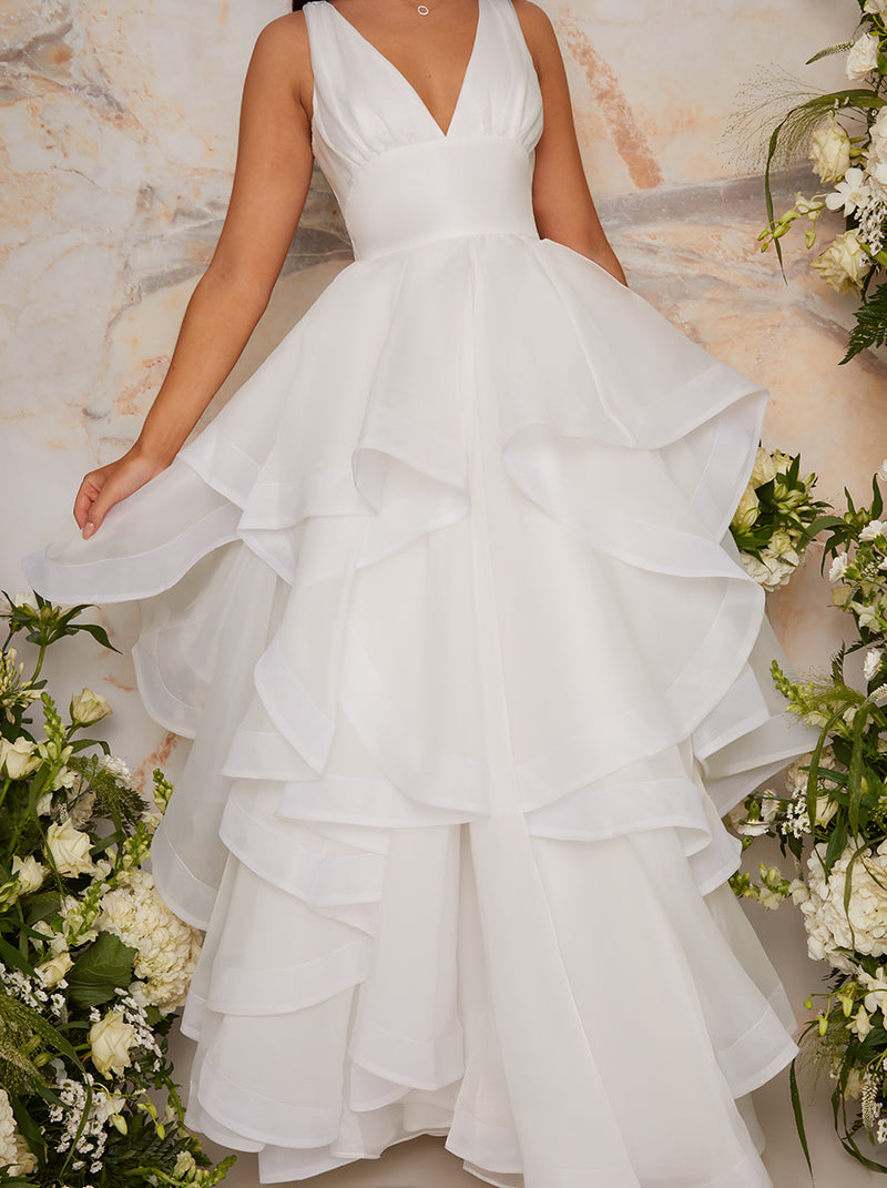 Bridal Plunge Neck Tiered Tulle Wedding Dress in White