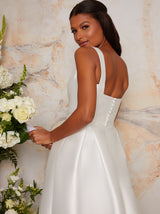 Sleeveless Structured Satin Bridal Dress with Train in White