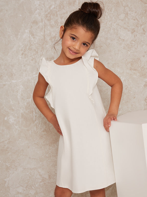 Girls Ruffle Detail Dress in White