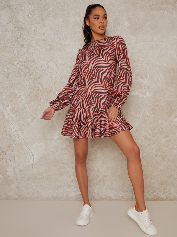 Animal Print Long Sleeve Mini Dress in Pink