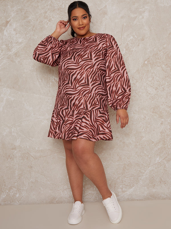 Plus Size Animal Print Long Sleeve Mini Dress in Multi