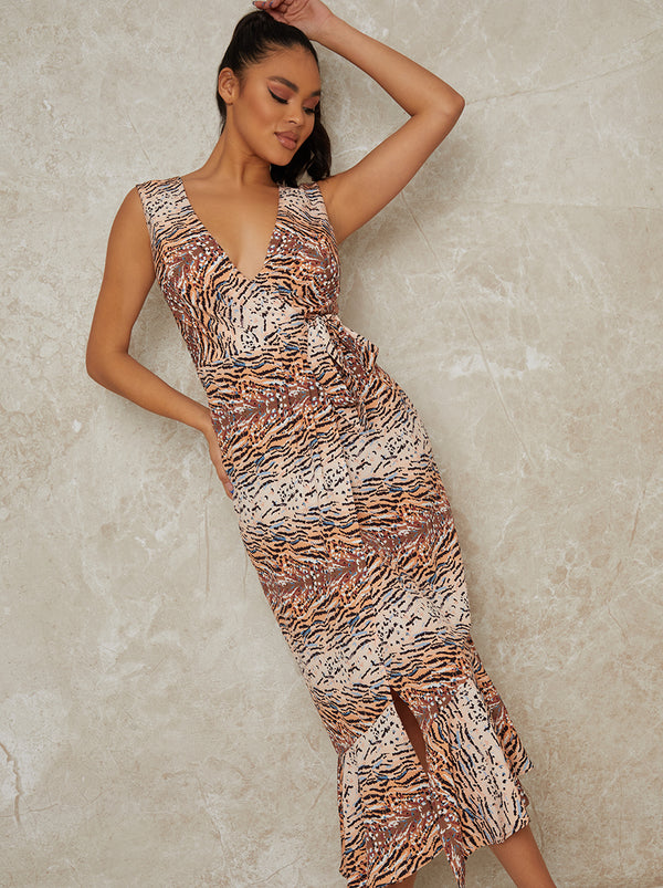 Sleeveless Animal Print Wrap Midi Dress in Multi