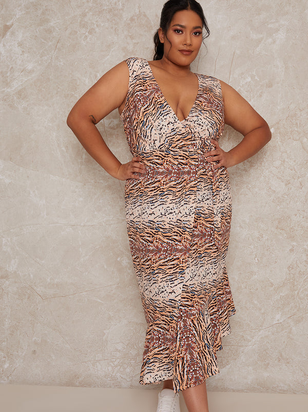 Plus Size Sleeveless Animal Print Wrap Midi Dress in Multi