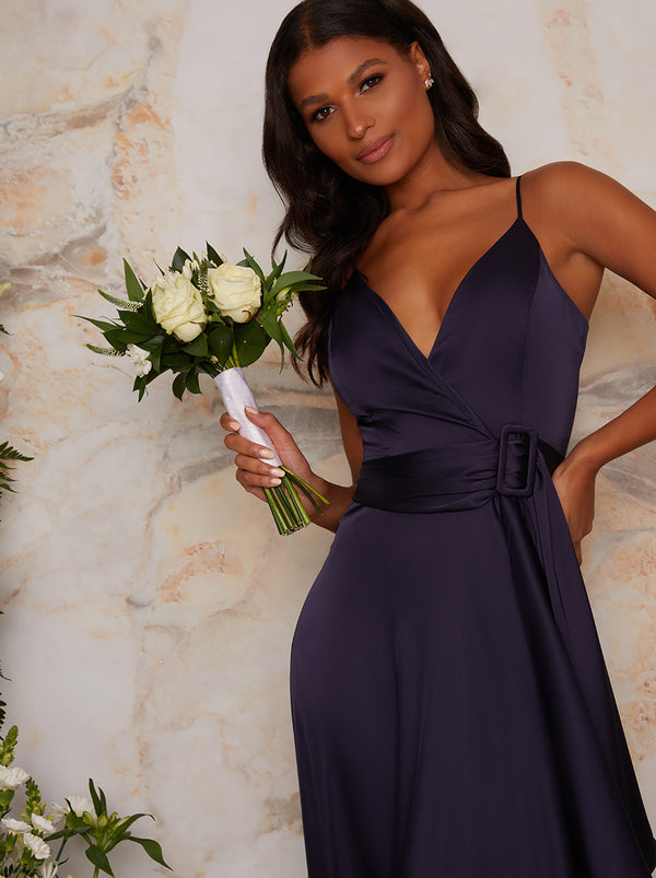 Satin Cami Strap Wrap Midi Bridesmaid Dress in Blue