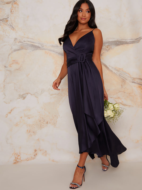 Petite Cami Strap Wrap Design Bridesmaid Dress In Blue