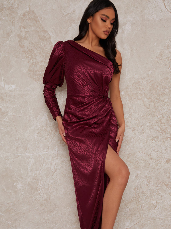 One Sleeve Ruched Maxi Dress in Burgundy