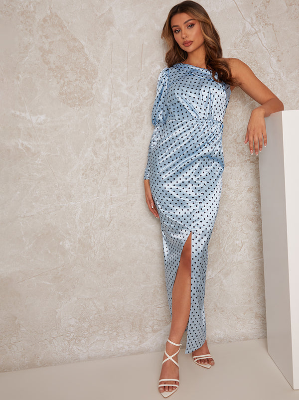 One Shoulder Satin Polka Dot Maxi Dress in Blue