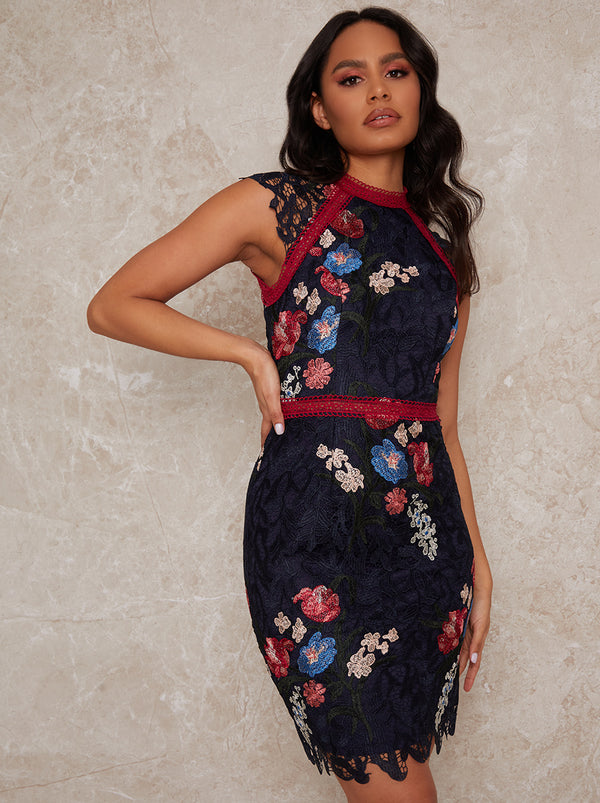 Sleeveless Bodycon Floral Crochet Mini Dress in Navy