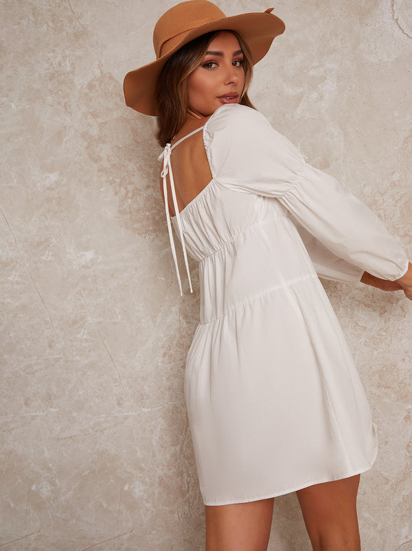 Puff Sleeve Mini Day Dress in White