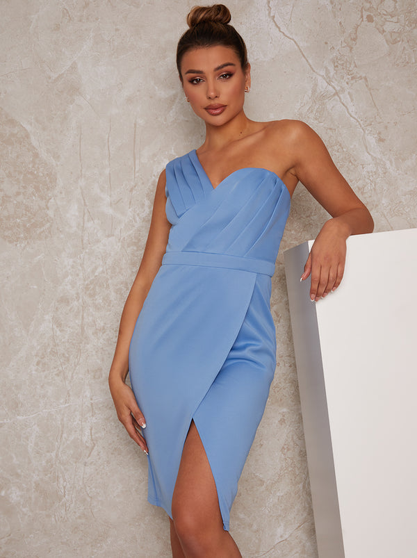 One Shoulder Pleated Bodycon Dress in Blue