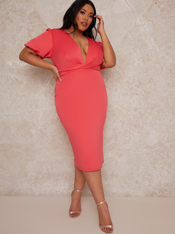 Plus Size Plunge Puff Sleeve Bodycon Dress in Fuschia