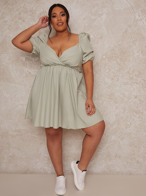 Plus size puff sleeve mini day dress in green