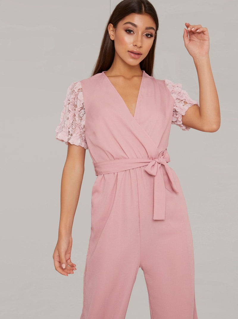 Lace Sleeved Wide Leg Jumpsuit in Pink