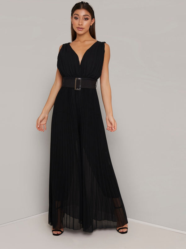 Wide Leg Belted Jumpsuit in Black