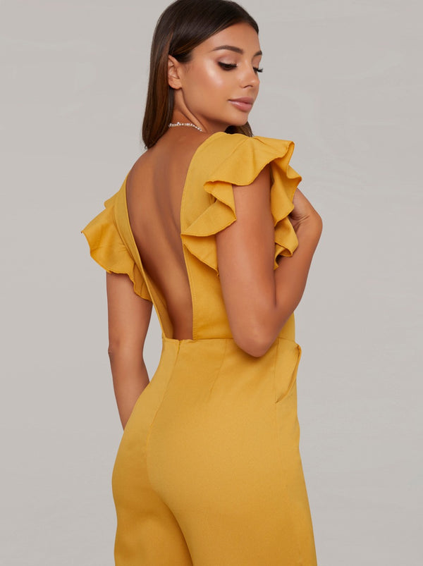 Backless Crop Leg Frill Jumpsuit in Yellow