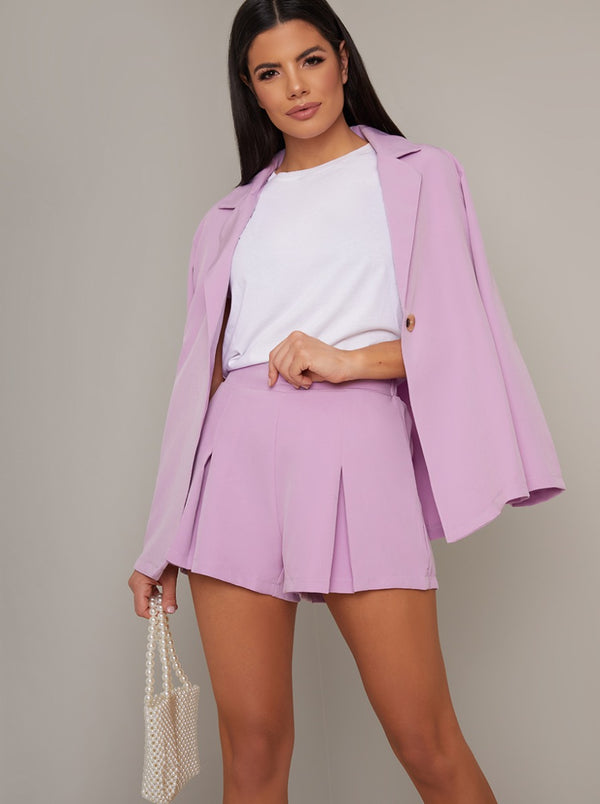 Tailored High Waist Shorts in Purple