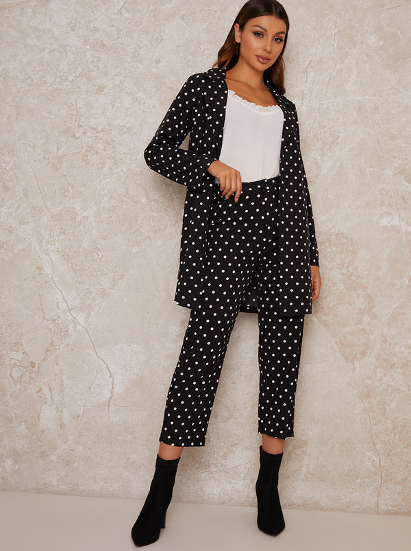 Spot Print Crop Straight Leg Trousers in Black