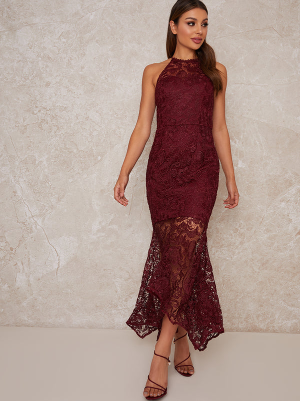 High Neck Lace Bodycon Ruffle Hem Dress in Red