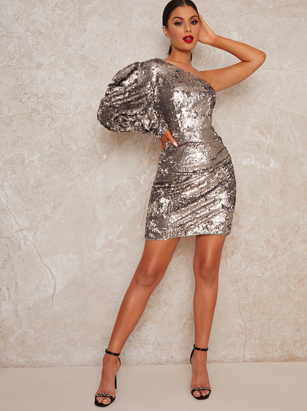 Puff Sleeve Sequin Mini Dress in Metallic