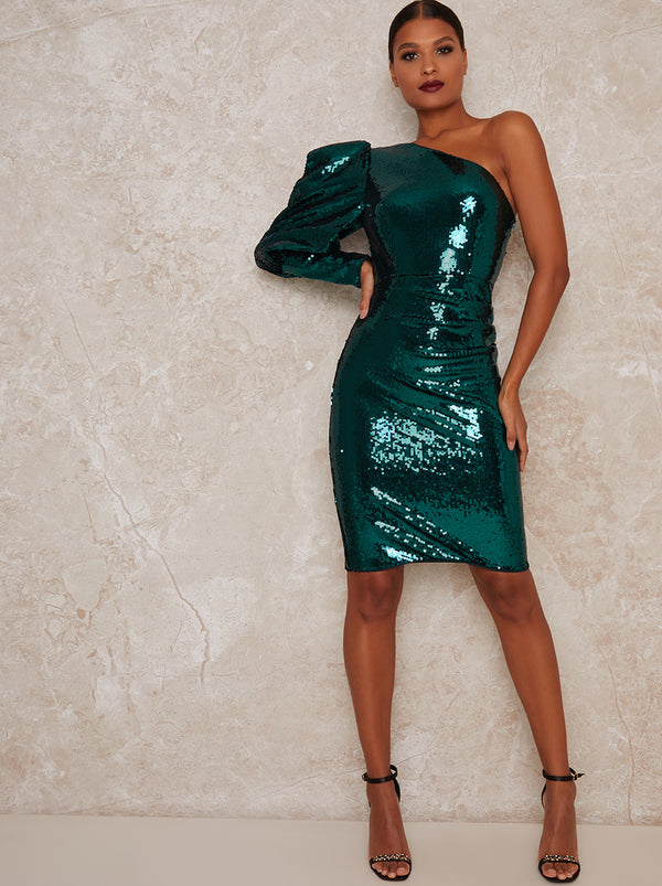 Puff Sleeve Sequin Midi Party Dress in Green