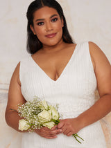 Plus Size Bridal Sleeveless Bodycon Dress with Sequins in White