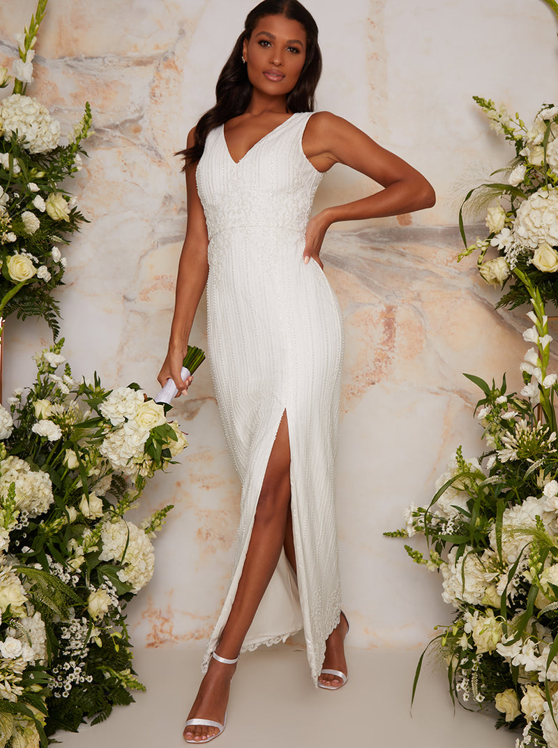 Bridal Sleeveless Bodycon Dress with Sequins in White