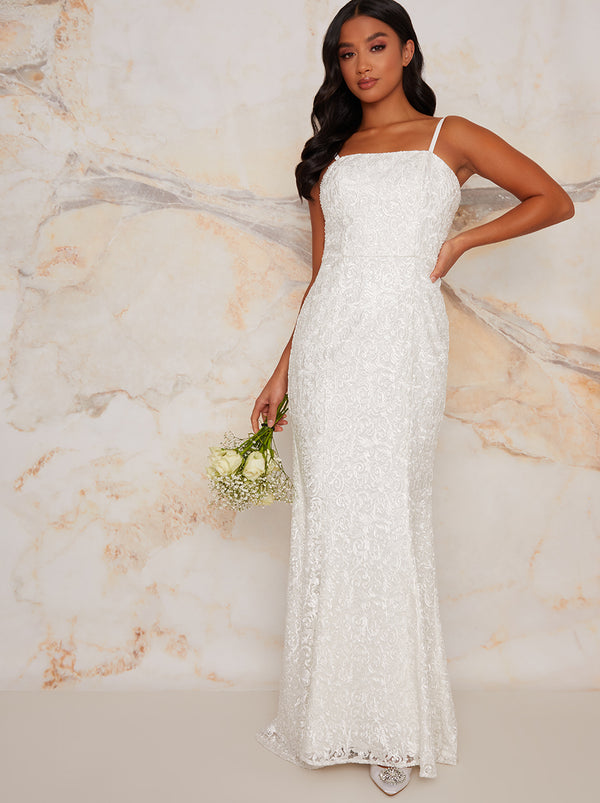Petite Bridal Embellished Maxi Dress in White