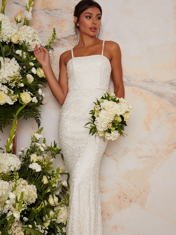 Bridal Cami Sequin Wedding Dress in White