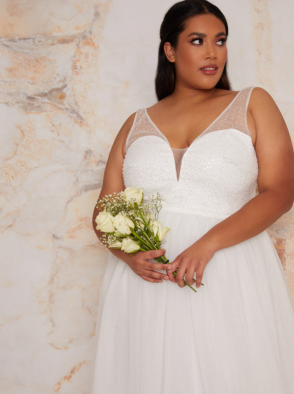 Plus Size Bridal Sequin Bodice Wedding Dress in White