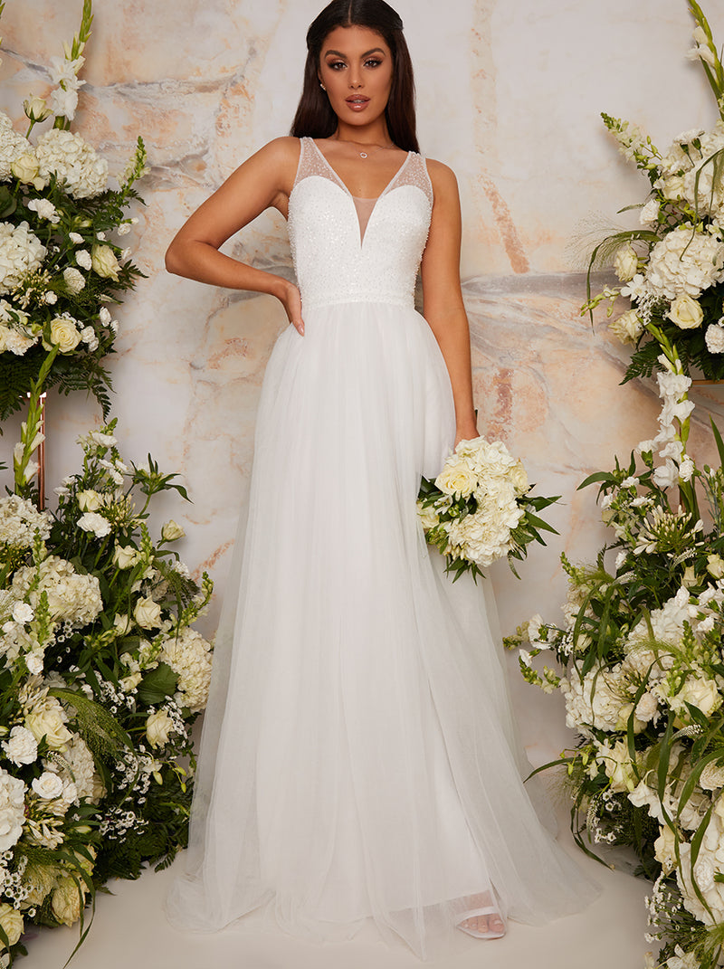 Bridal Sequin Bodice Tulle Maxi Wedding Dress in White
