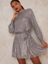 Mini Party Dress with Sequin Design in Metallic