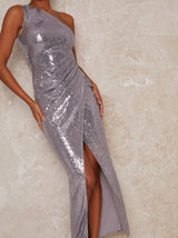 One Shoulder Wrap Sequin Party Maxi Dress in Metallic