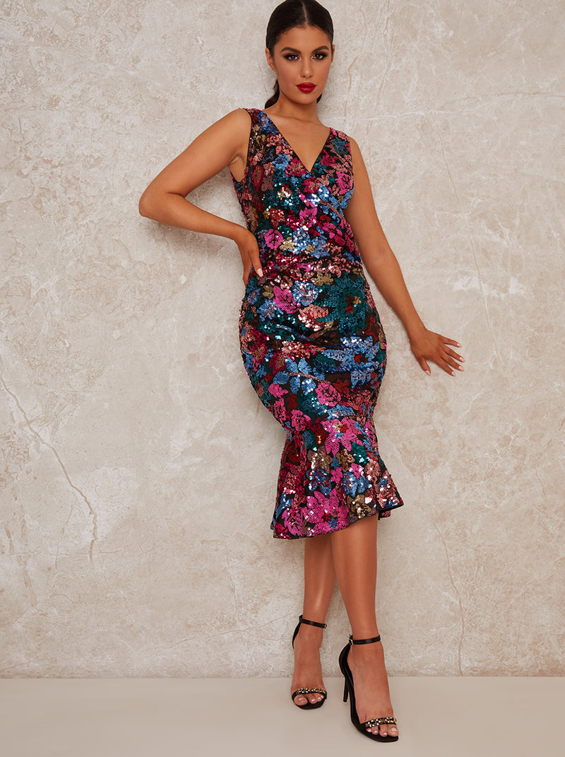 Sequin Midi Party Dress with Peplum Design in Black