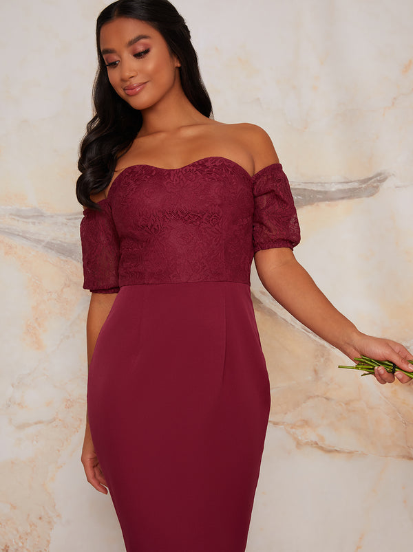 Petite Lace Bardot Bodycon Peplum Dress In Purple