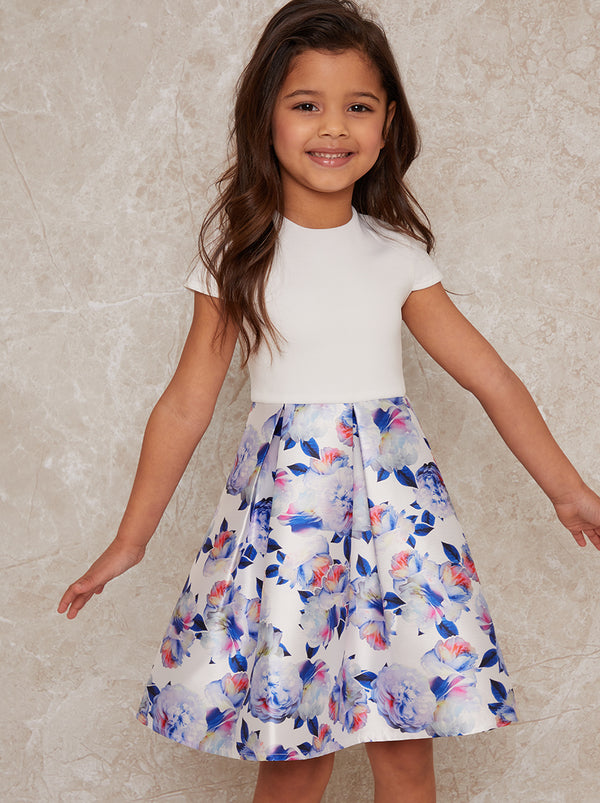 Girls Short Sleeve Floral Print Dress in White