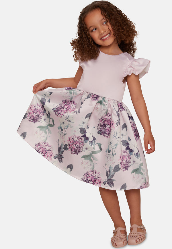 Girls Ruffle Floral Print Midi Dress in Lilac