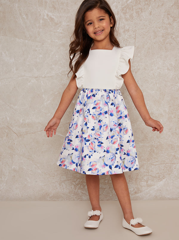 Girls ruffle sleeve floral print midi dress in white