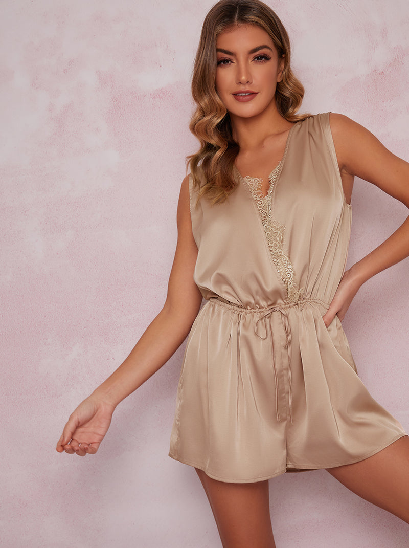 Satin Finish Drawstring Sleepsuit in Champagne
