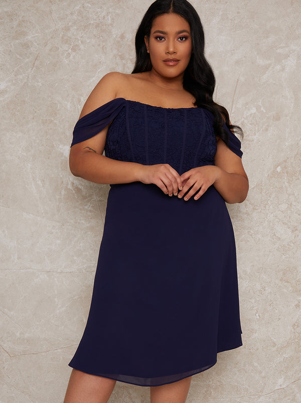 Plus Size Crochet Bodice Bardot Midi Dress in Navy