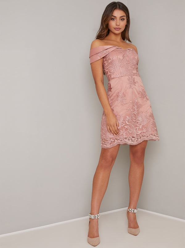 Bardot Lace Overlay Mini Dress In Rose Gold