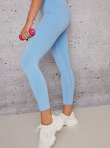 Mid Rise Sports Leggings in Blue