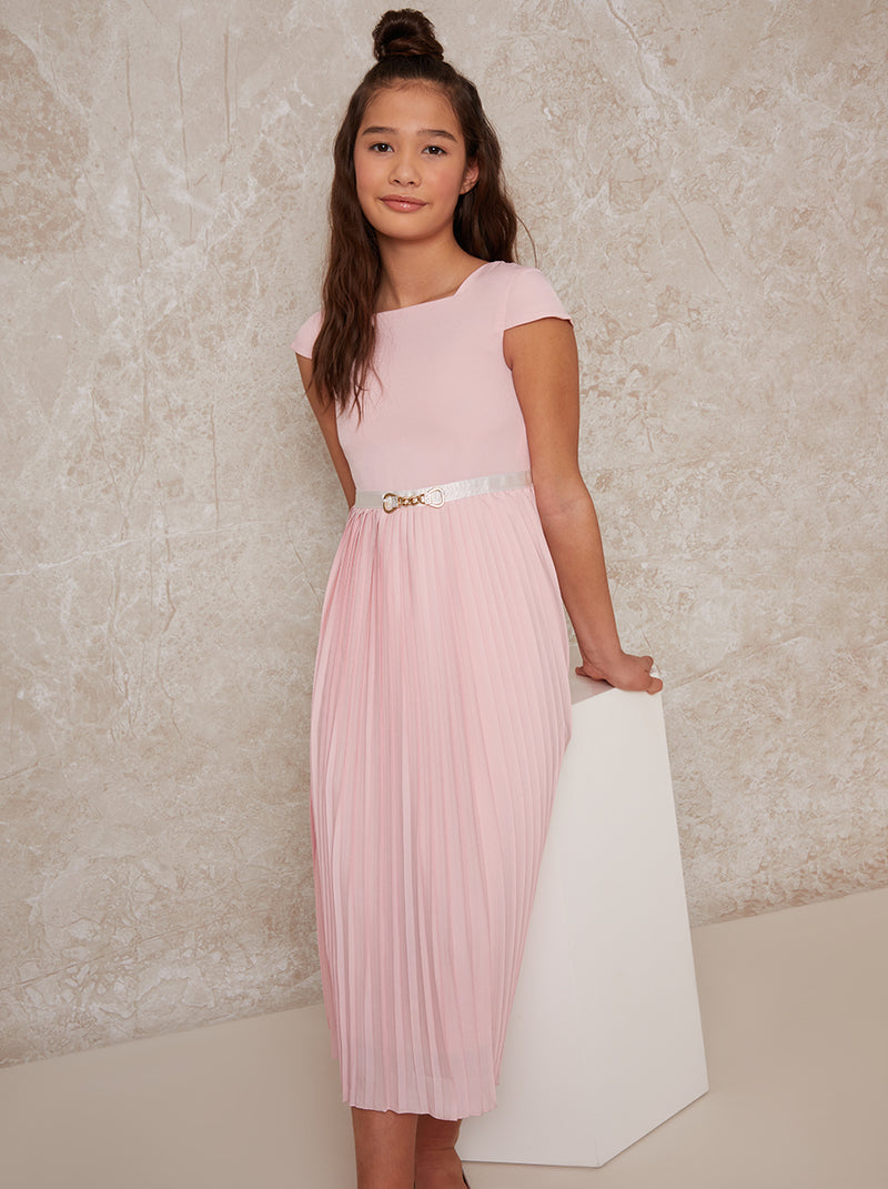 Girls Pleated Midi Dress with Belt Detail in Pink