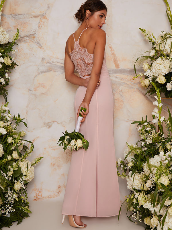 Maxi Bridesmaid Dress with Lace Back Detail in Pink