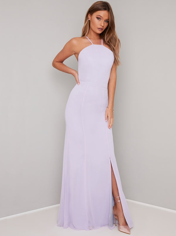 Lace Back Cami Strap Fiited Bodice Maxi Dress in Purple