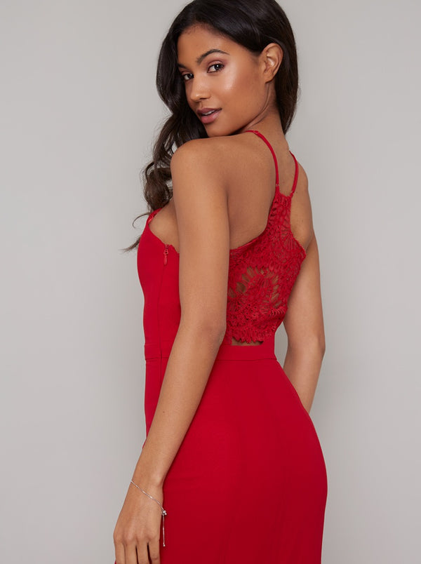 Lace Back Maxi Dress in Red